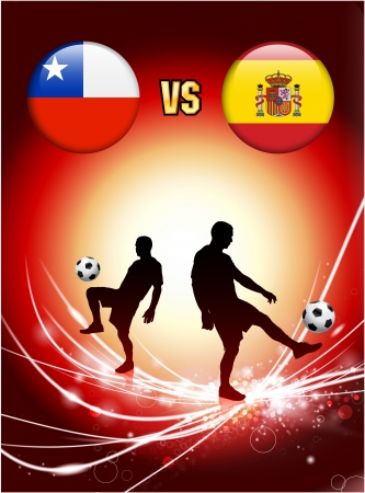 versus: Chile versus Spain on Abstract Red Light Background Original Illustration
