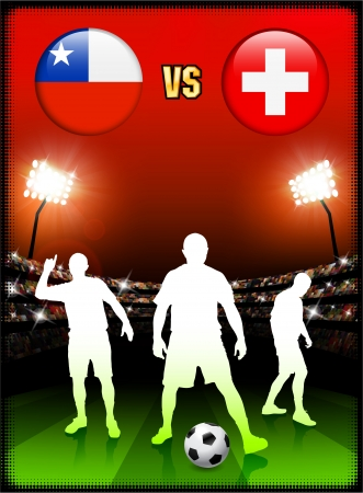 versus: Chile versus Switzerland on Stadium Event Background Original Illustration