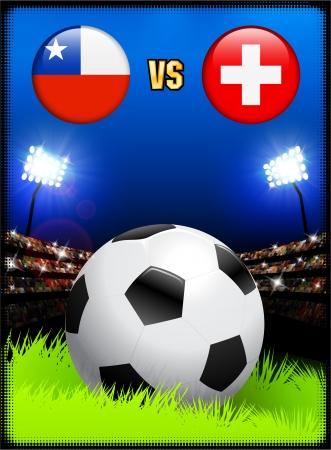 Chile versus Switzerland on Soccer Stadium Event Background Original Illustration