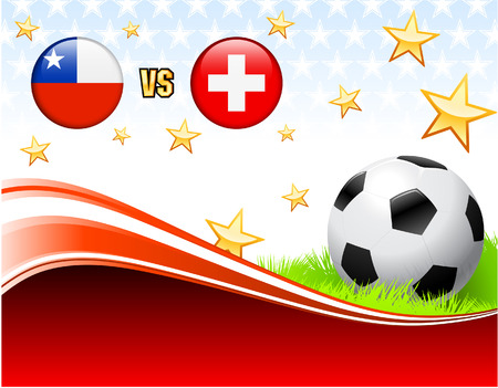 versus: Chile versus Switzerland on Abstract Red Background with Stars Original Illustration Illustration