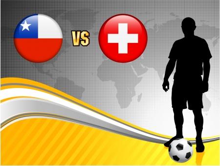 swiss flag: Chile versus Switzerland on Abstract World Map Background Original Illustration Illustration