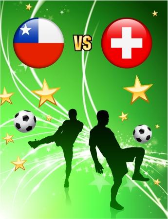 抽象的な緑にスイス連邦共和国対チリ星の背景 オリジナル イラスト  イラスト・ベクター素材
