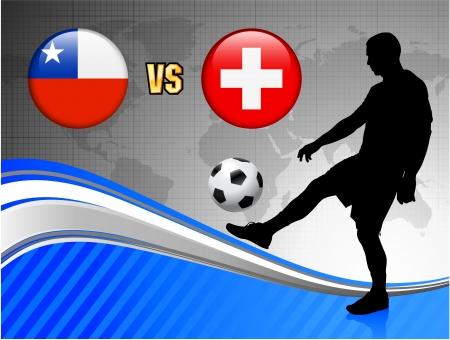 Chile versus Switzerland on Blue Abstract World Map Background Original Illustration