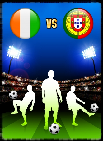 versus: Ivory Coast versus Portugal on Stadium Event Background Original Illustration