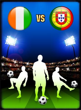 Ivory Coast versus Portugal on Stadium Event BackgroundOriginal Illustration 向量圖像