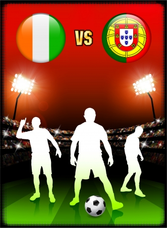 Ivory Coast versus Portugal on Stadium Event Background Original Illustration