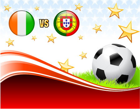 Ivory Coast versus Portugal on Abstract Red Background with Stars