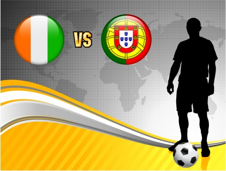 Ivory Coast versus Portugal on Abstract World Map Background