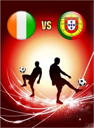 Ivory Coast versus Portugal on Abstract Red Light Background Original Illustration Иллюстрация
