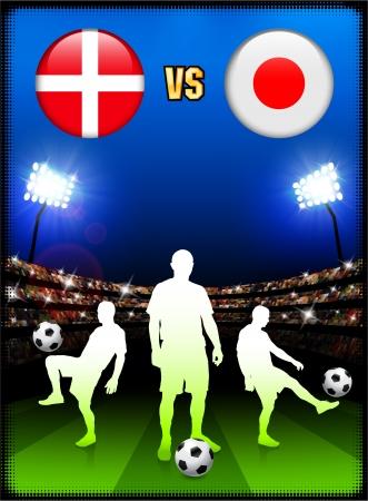 Denmark versus Japan on Stadium Event Background Original Illustration