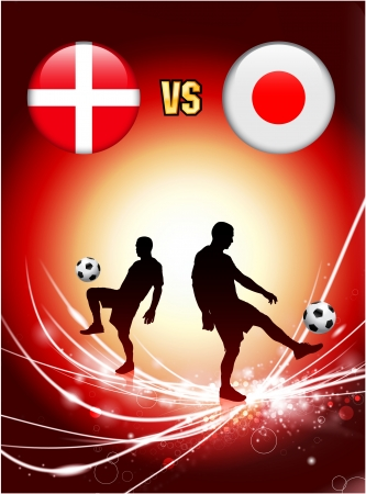 Denmark versus Japan on Abstract Red Light Background Original Illustration Vector
