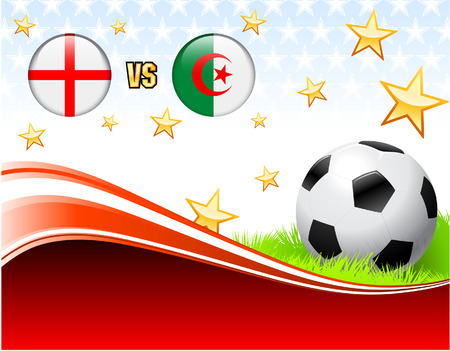 versus: England versus Algeria on Abstract Red Background with Stars Original Illustration