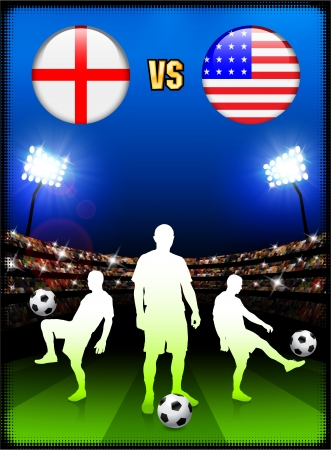 England versus USA on Stadium Event Background Original Illustration