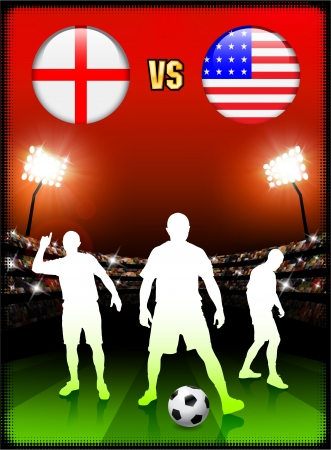 versus: England versus USA on Stadium Event Background Original Illustration