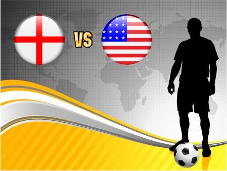 England versus USA on Abstract World Map Background Original Illustration