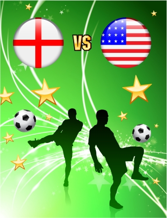 versus: England versus USA on Abstract Green Stars Background Original Illustration