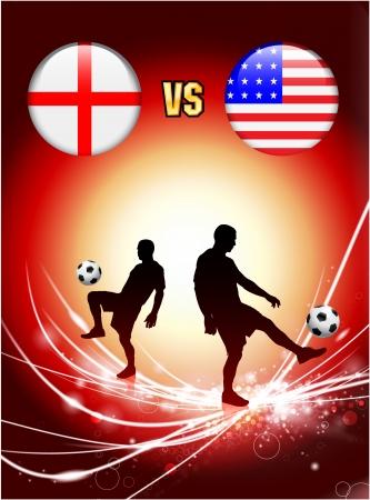 England versus USA on Abstract Red Light BackgroundOriginal Illustration