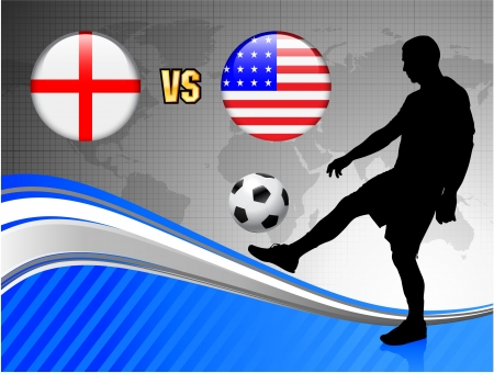 England versus USA on Blue Abstract World Map Background Original Illustration