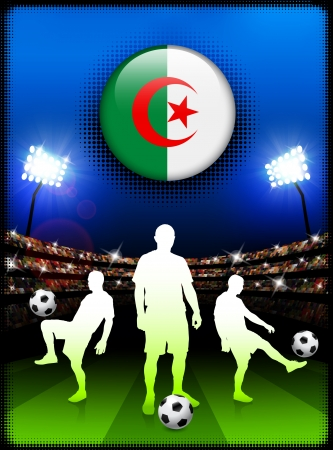 Algeria Flag Button with Soccer Match in Stadium Original Illustration Vector