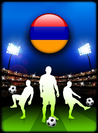 Armenia Flag Button with Soccer Match in StadiumOriginal Illustration Çizim