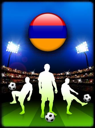 Armenia Flag Button with Soccer Match in StadiumOriginal Illustration Stock Illustratie