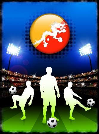 bhutan: Bhutan vlag knop met voetbalwedstrijd in een stadion Originele illustratie