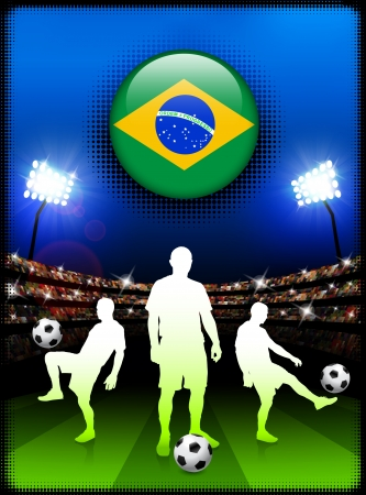Brazil Flag Button with Soccer Match in Stadium Original Illustration