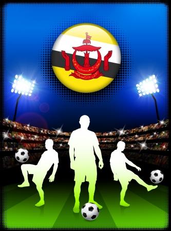 Brunei Darussalam Flag Button with Soccer Match in StadiumOriginal Illustration