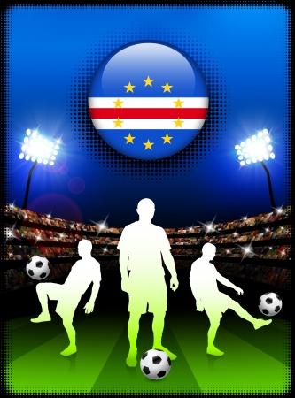 Cape Verde Flag Button with Soccer Match in StadiumOriginal Illustration