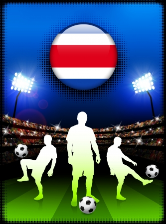 costa rica: Costa Rica Flag Button with Soccer Match in Stadium Original Illustration