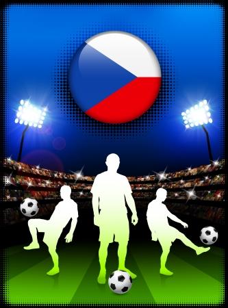 Czech Republic Flag Button with Soccer Match in Stadium Original Illustration 向量圖像