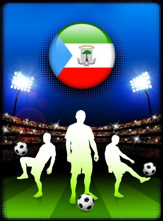 guinea equatoriale: Pulsante di bandiera Guinea equatoriale con una partita di calcio nello stadio Illustrazione originale