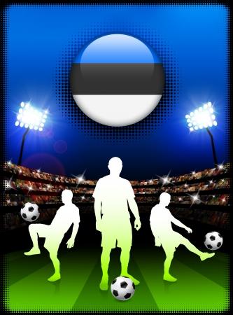 スタジアムでサッカーの試合でエストニア国旗ボタン オリジナル イラスト