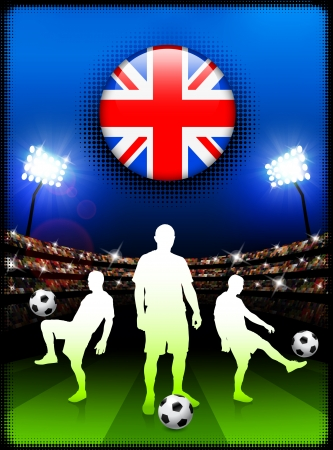 Great Britain Flag Button with Soccer Match in Stadium Original Illustration Vector