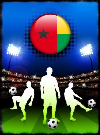 guinea bissau: Guinea Bissau Flag Button with Soccer Match in Stadium Original Illustration Illustration
