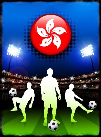 Hong Kong Flag Button with Soccer Match in StadiumOriginal Illustration