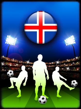 Iceland Flag Button with Soccer Match in StadiumOriginal Illustration Vettoriali