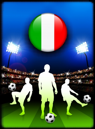 Italy Flag Button with Soccer Match in Stadium Original Illustration Vector