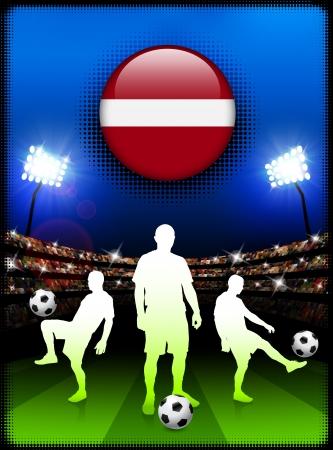 Latvia Flag Button with Soccer Match in StadiumOriginal Illustration
