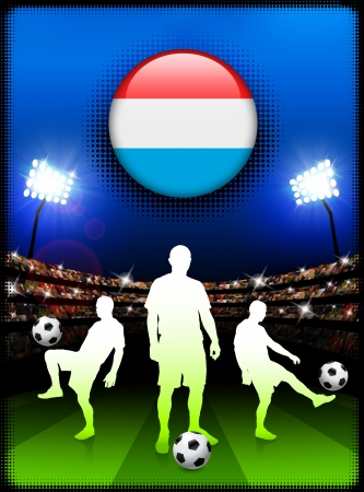 Luxembourg Flag Button with Soccer Match in StadiumOriginal Illustration