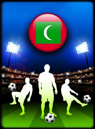 Maldives Flag Button with Soccer Match in Stadium Original Illustration