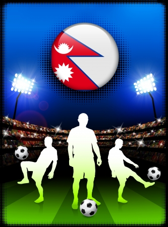 Nepal Flag Button with Soccer Match in Stadium