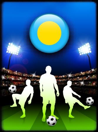Palau Flag Button with Soccer Match in StadiumOriginal Illustration Çizim