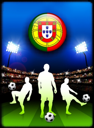 Portugal Flag Button with Soccer Match in StadiumOriginal Illustration