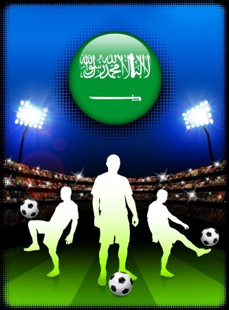 スタジアムでサッカーの試合でサウジアラビア国旗ボタン オリジナル イラスト