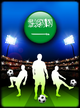 Saudi Arabia Flag Button with Soccer Match in Stadium Original Illustration Vector