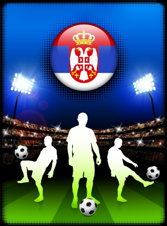 Serbia Flag Button with Soccer Match in Stadium Original Illustration