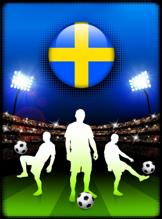 Sweden Flag Button with Soccer Match in Stadium