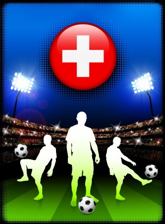 swiss flag: Switzerland Flag Button with Soccer Match in Stadium Original Illustration