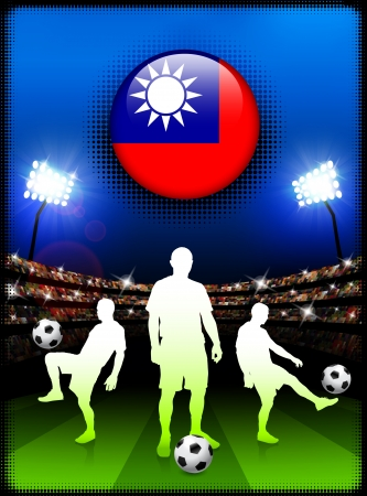 Taiwan Flag Button with Soccer Match in Stadium